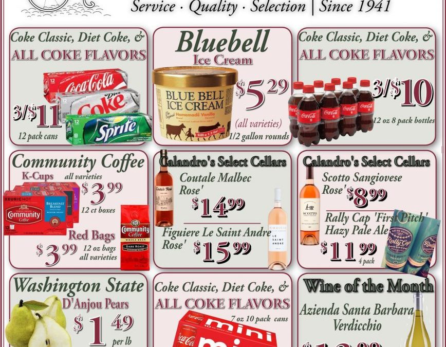 Calandro's Wonderful Sales and Specials for This Week! (5/21/2020 – 5/26/2020)