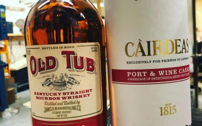 It's whiskey Wednesday at our Perkins Rd location! First is the much anticipated relaunch of Old Tub Bottled in Bond and the new release of @laphroaig Càirdeas finished in Port