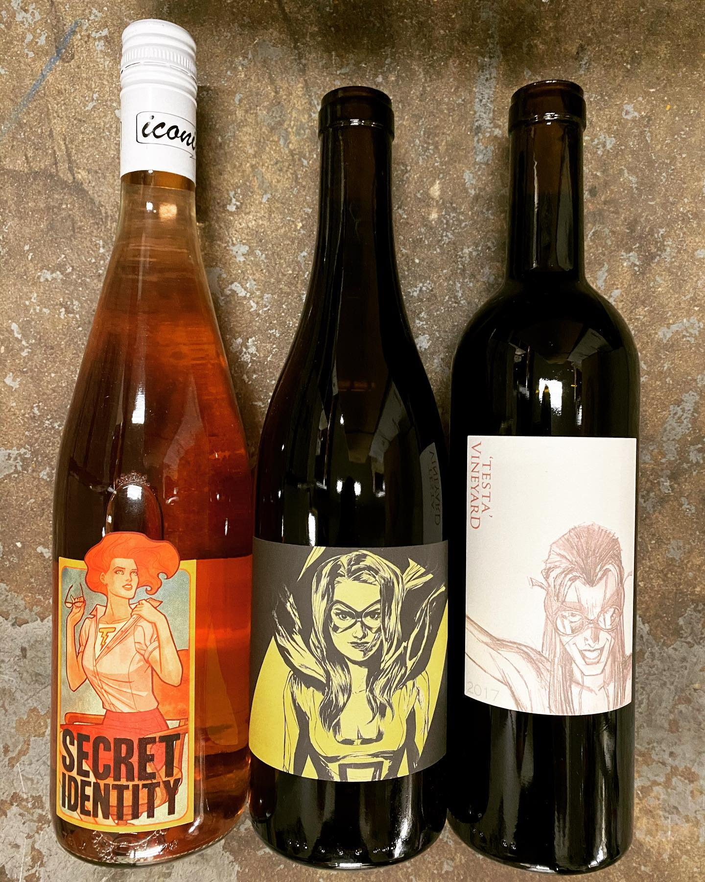 @iconicwine now available at Perkins! Heroine Chardonnay, Secret Identity Rose, and Testa Red Blend all