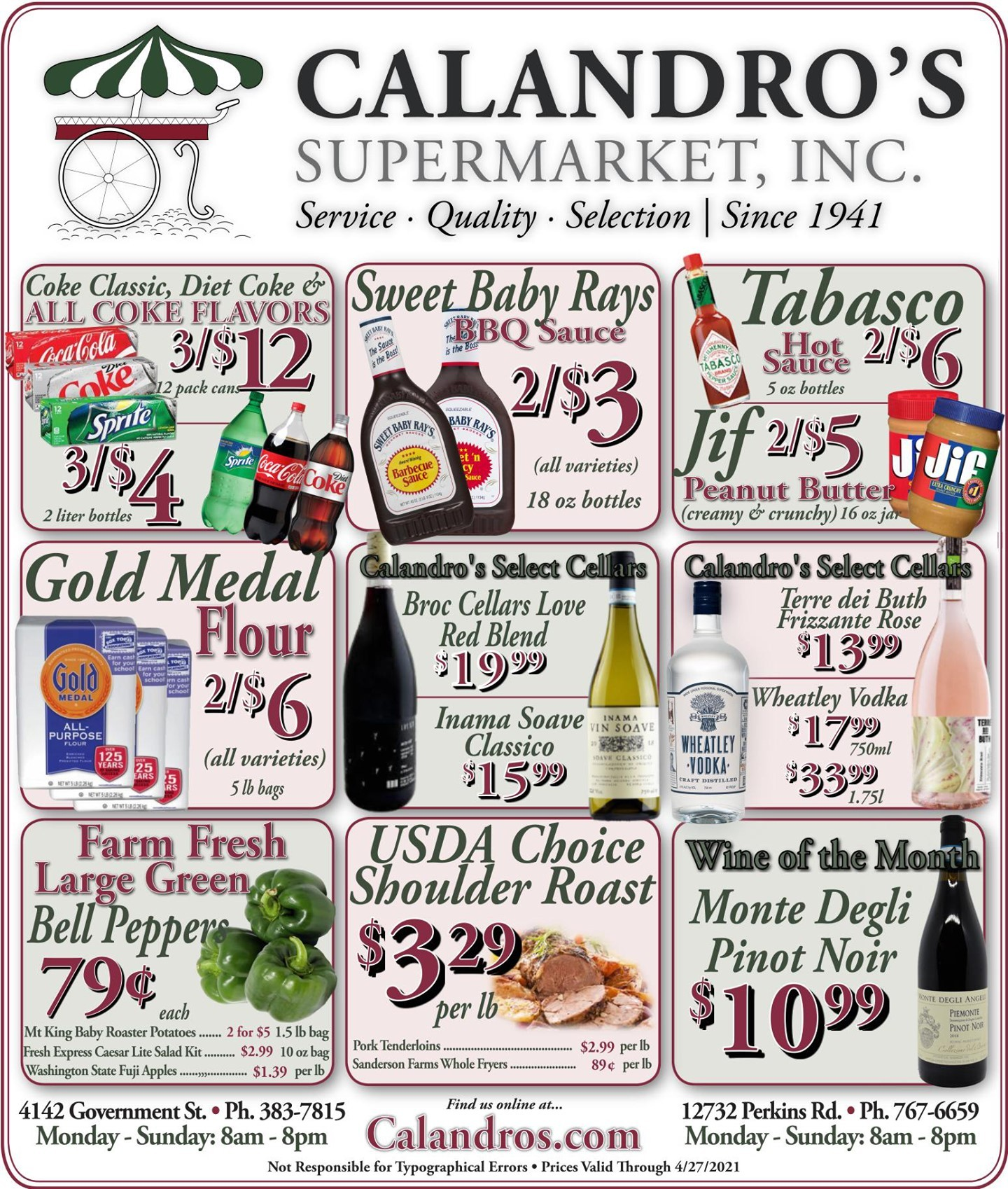 Calandro's Sensational Specials and Deals for This Week! (4/22/2021 – 4/27/2021) http://dlvr.it/RyFB4Z…