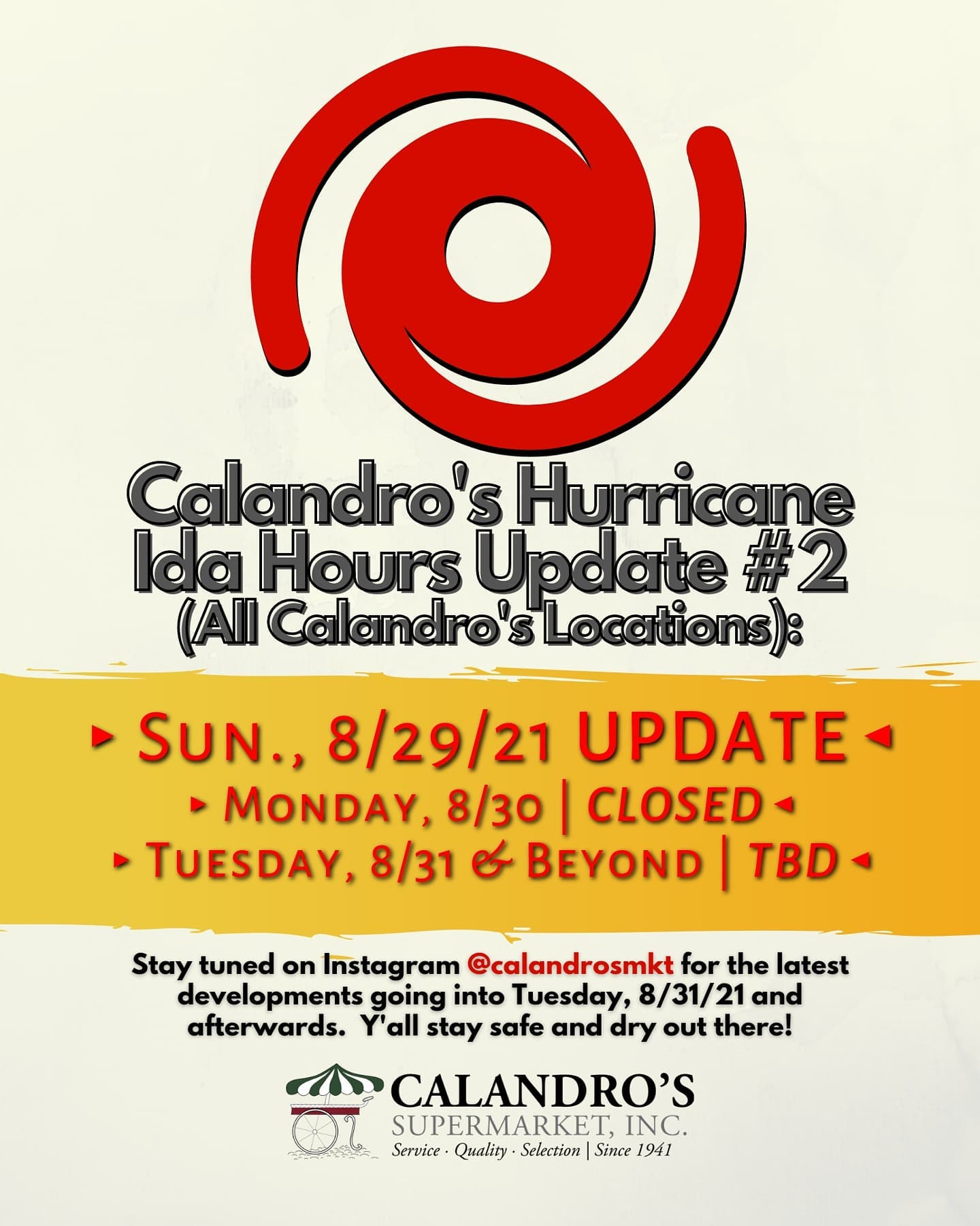 Sunday Night Calandro's Hours Update ( #2)…we will be closed Monday for our employees to