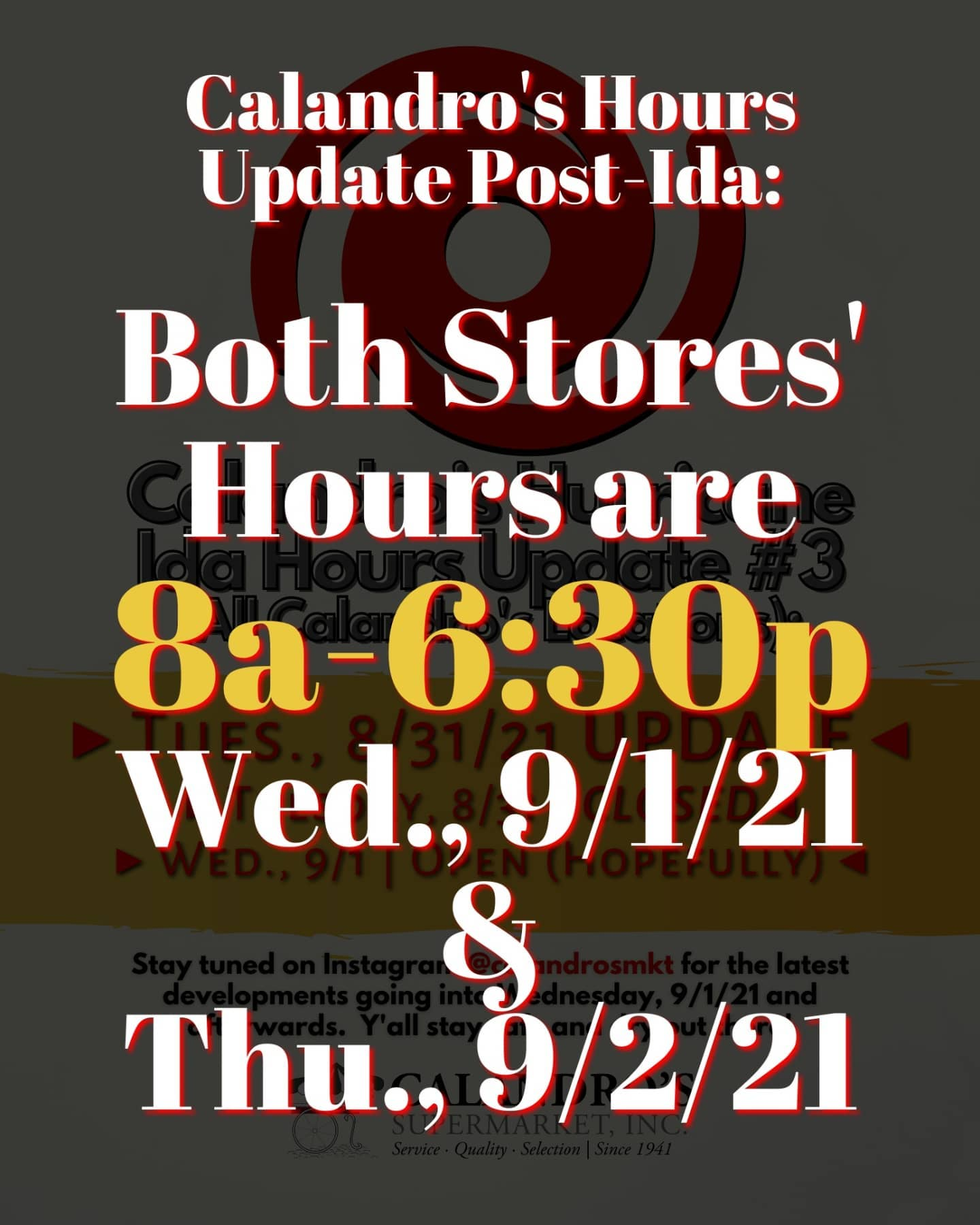 Another Calandro's Hours Update!!! 🕰️⏲️ We are OPEN! But today (Wed., 9/1) & tomorrow (Thurs.,